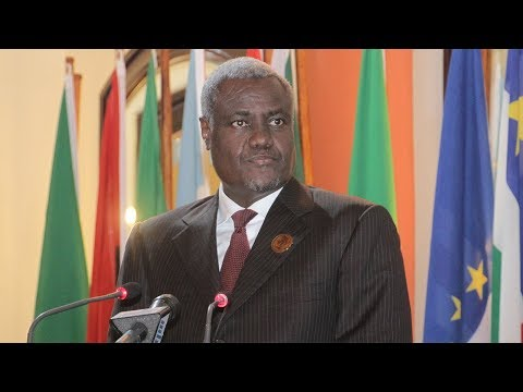African Union Commission Chair Moussa Faki Mahamat speaks at The National Press Club
