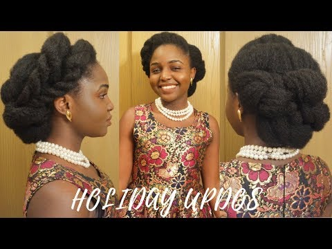 HOLIDAY  CHRISTMAS NYE UPDOS ON 4C HAIR