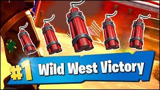 Fortnite Wild West Victory Royale Gameplay (BANNED DYNAMITE ITEM)