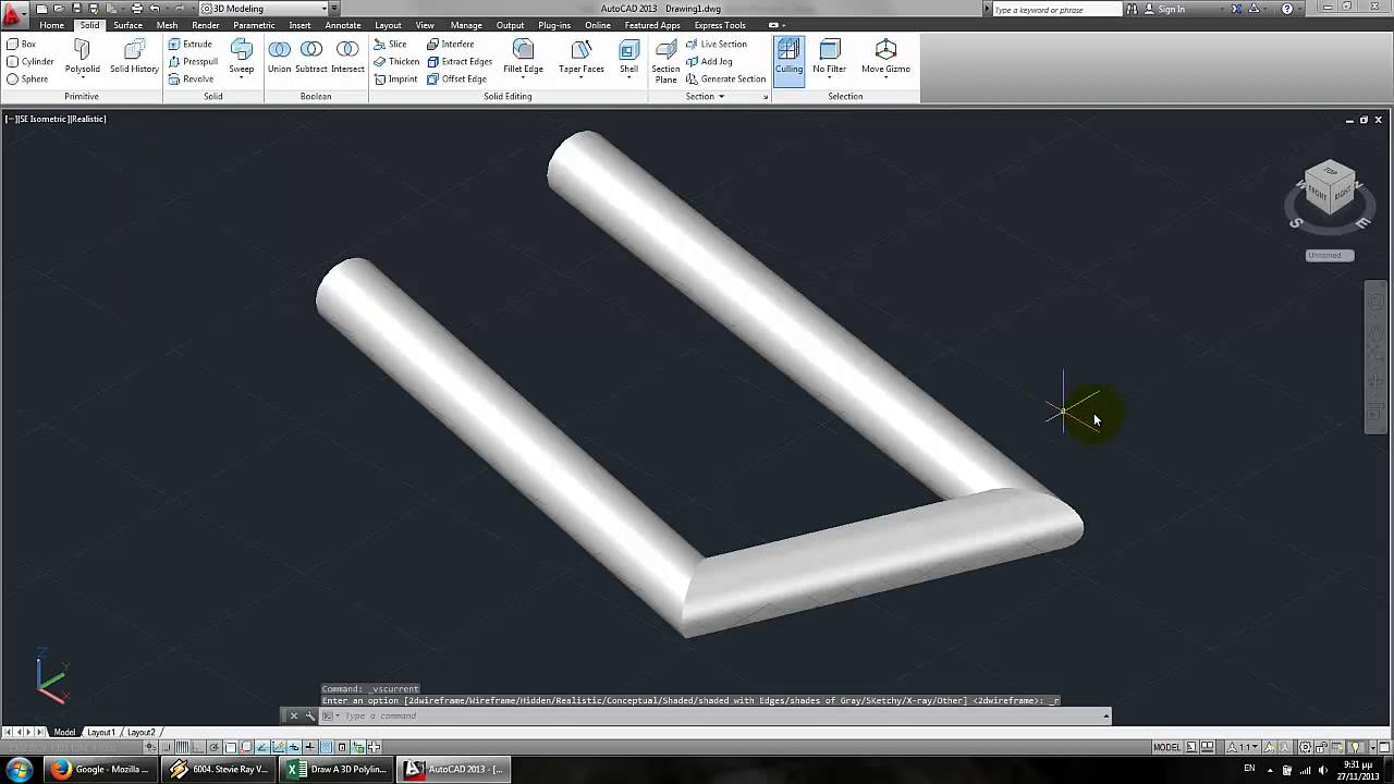 Draw A 3D Polyline (Pipe Like) In AutoCAD Using Excel & VBA