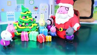 Play Doh Christmas Tree Peppa Pig Tutorial how-to Make Peppa Pig Family Christmas with Playdough