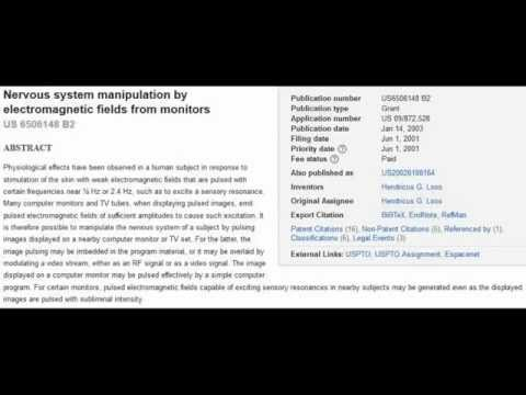 Patent For Subliminal Control, Nervous System Manipulation Thru Your Monitor