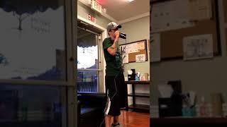 Dancing on my own karaoke at work.