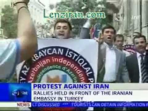 Demonstration in front of Iranian embassy , Azerbayjan angry of Tehran interference
