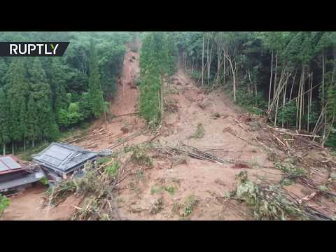 Heavy rains aftermath | Drone footage of Japanese city after landslide