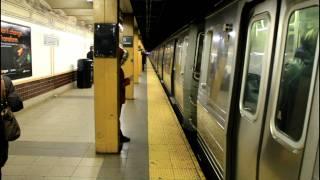 BMT (N) (Q) (R) train Rush Hour Action at 5th Avenue (R46 / R68A / R160)