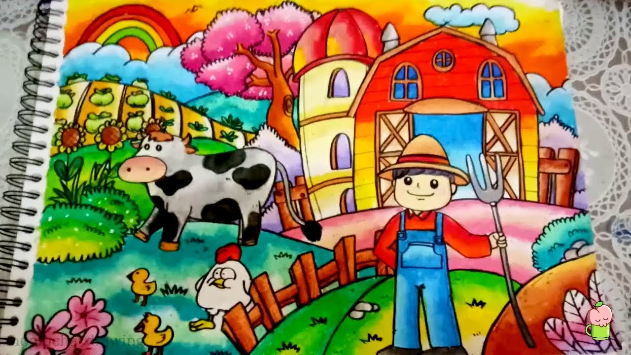 How To Draw And Coloring FARM With OIL PASTEL