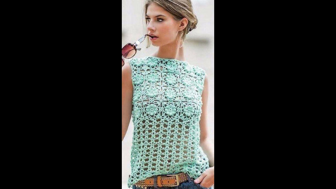 98edb3fde196 Blusa de mujer a crochet muy facil y rapida 1ª parte - YouTube