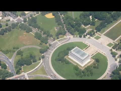 Washington DC skyline vision from plane