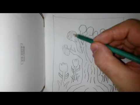 Baum mit Blumen zeichnen