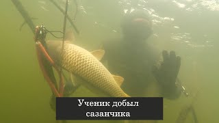 Подводная охота на Волге с учениками Максима Лубягина.