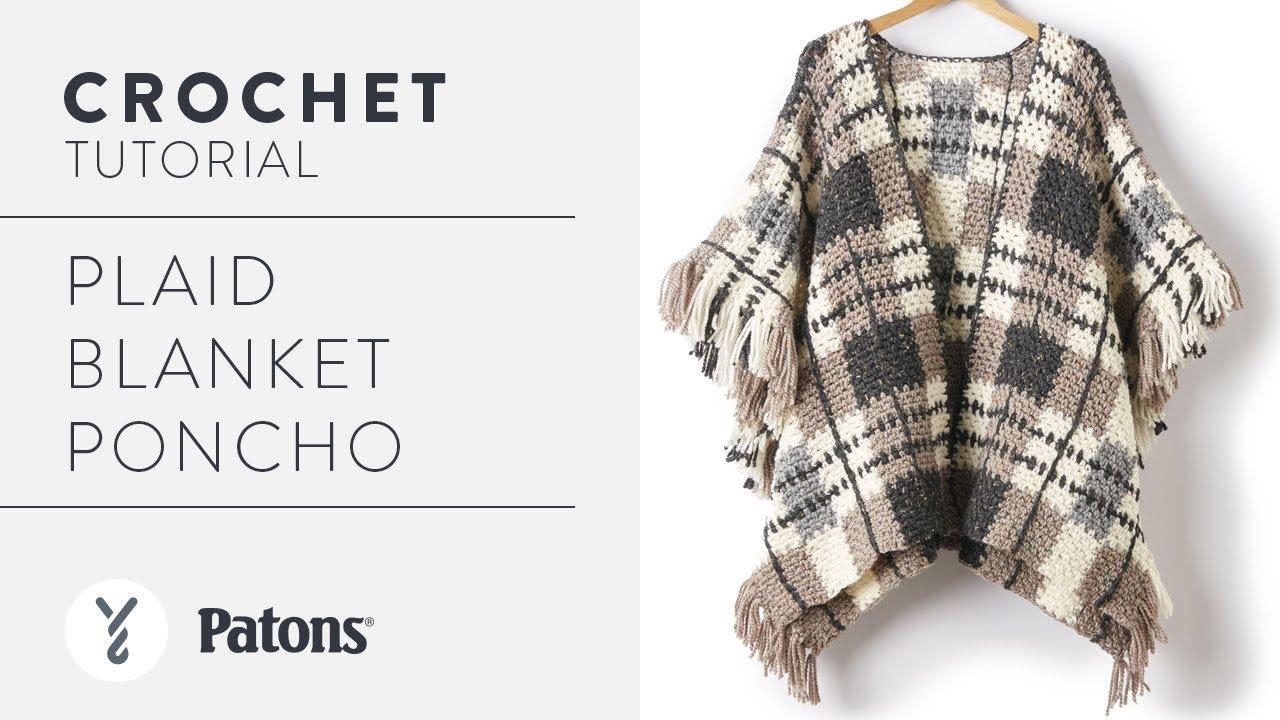 Crochet a Poncho: Plaid Blanket - YouTube