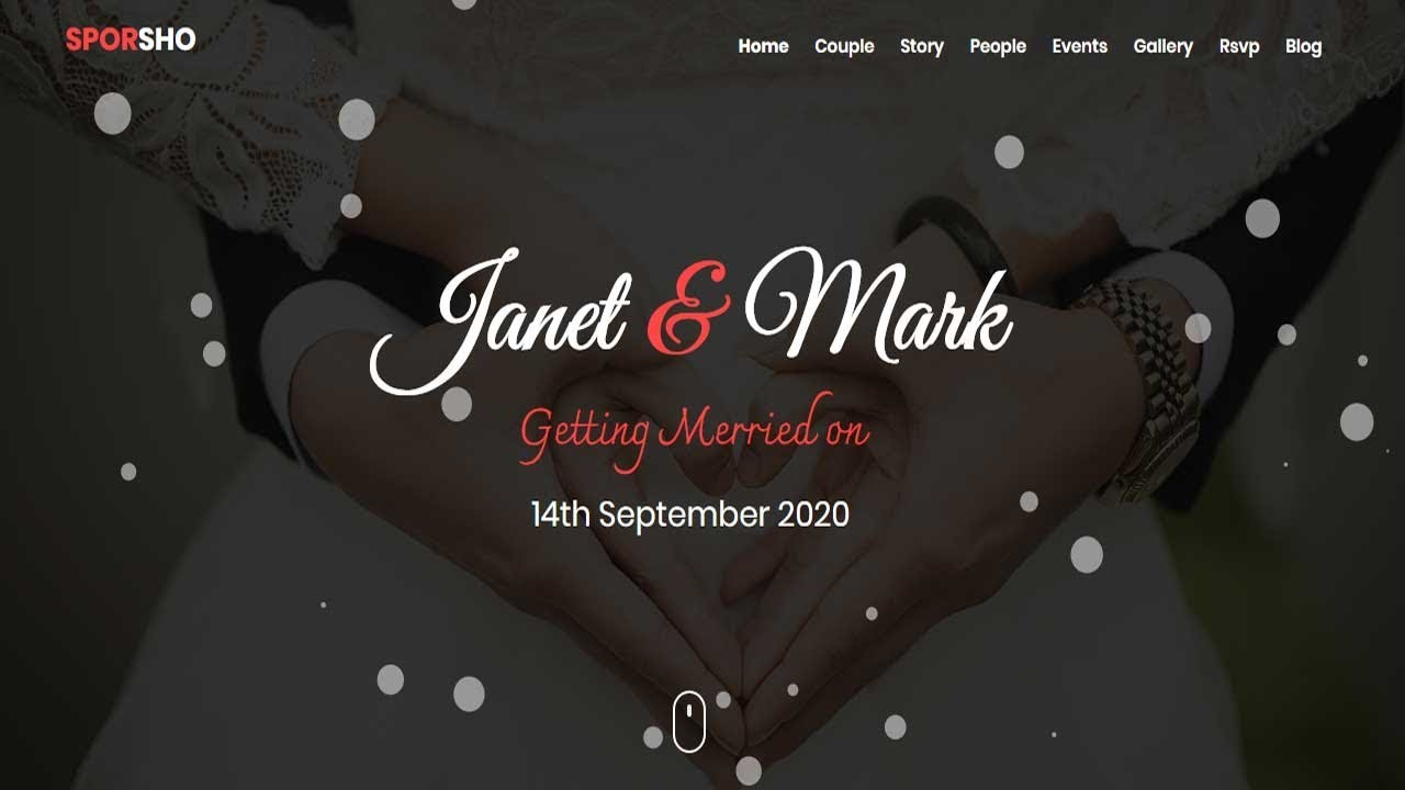 sporsho one page wedding invitation template bootstrap wedding