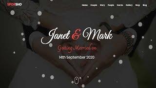Sporsho - One Page Wedding Invitation Template | Bootstrap Wedding Invitation Website