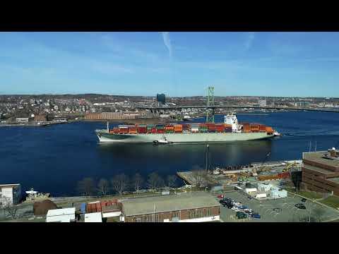 Container ship; Crete 1 entering Halifax harbour.