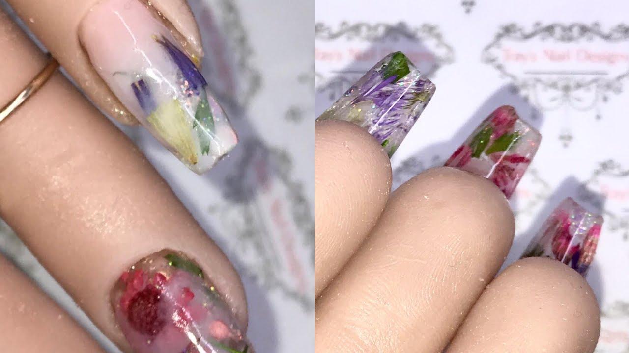 🥛 🛁 Milk Bath Nails Full Acrylic Design / Glitter Planet / Dried Flowers  / Glitter Nail Art 🥛 🛁