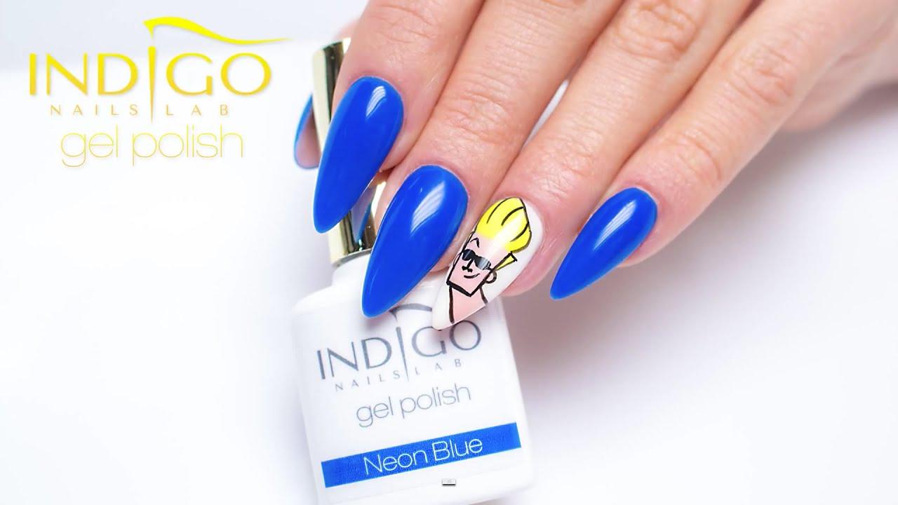 Indigo Gel Polish Neon Blue Johnny Bravo Design