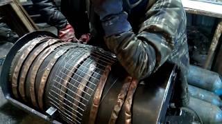 Мощная печь (булерьян) на дровах с вентилятором для обогрева мастерской 100м2.