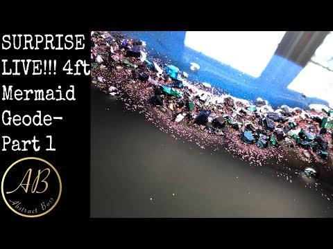 SURPRISE LIVE! 4 ft mermaid geode part 1! Coffee hangout