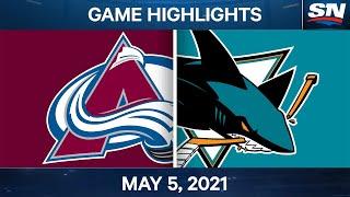 NHL Game Highlights | Avalanche vs. Sharks - May 5, 2021