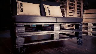 видео Диван из Паллет Поддонов Как Сделать Своими Руками Пошагово Для Дачи и Сада, Раскладное Кресло из Деревянных Ящиков на Балкон