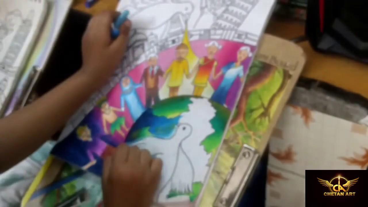 Best drawing on world peace world unity chetan art