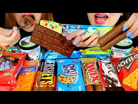 ASMR MOST POPULAR AMERICAN SNACKS (TWIX, M&M'S Rice Krispies, ICE CREAM, HERSHEY'S CHOCOLATE 먹방