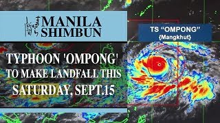 Typhoon 'Ompong' to make landfall this Saturday, Sept.15