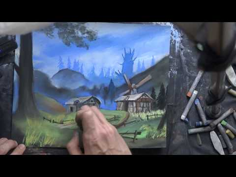 artist Aleksandr Alyonin live video tutorial painting drawing lesson landscape Gothic 2 game