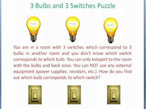 3 Bulbs and 3 Switches Puzzle - YouTube