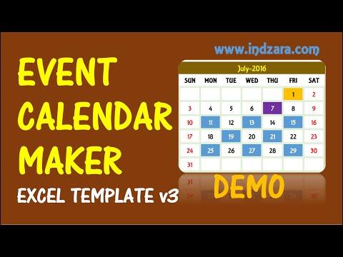 Event Calendar Maker - Excel Template - V3 - Demo