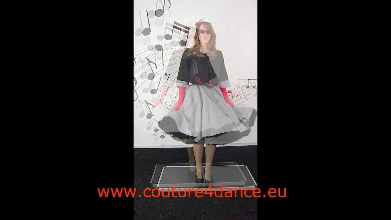 Pepita- Tellerrock / Circleskirt geknöpft+ -Carmenbluse + -Wendejacke 50th + Petticoat Cinderella