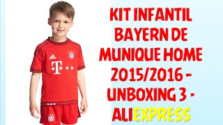 KIT CAMISA BAYERN DE MUNIQUE HOME 15 16 INFANTIL ALIEXPRRESS - UNBOXING 3  ... 3ab5ed85d2eae