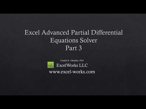 Solving partial differential equations in Excel video tutorials