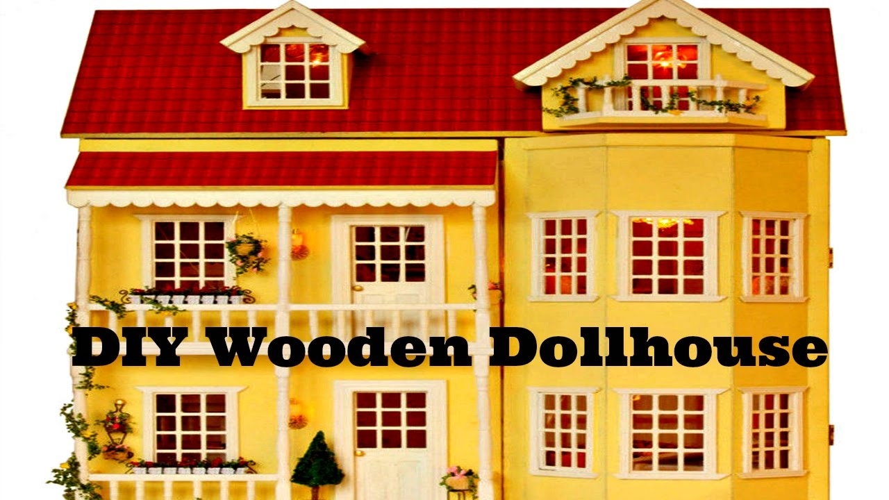 Diy Wooden Dollhouse Handmade Miniature Kit With Led Lights What