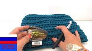 Двойной луп шарф на зиму с прямым горизонтальным узором вязание крючком