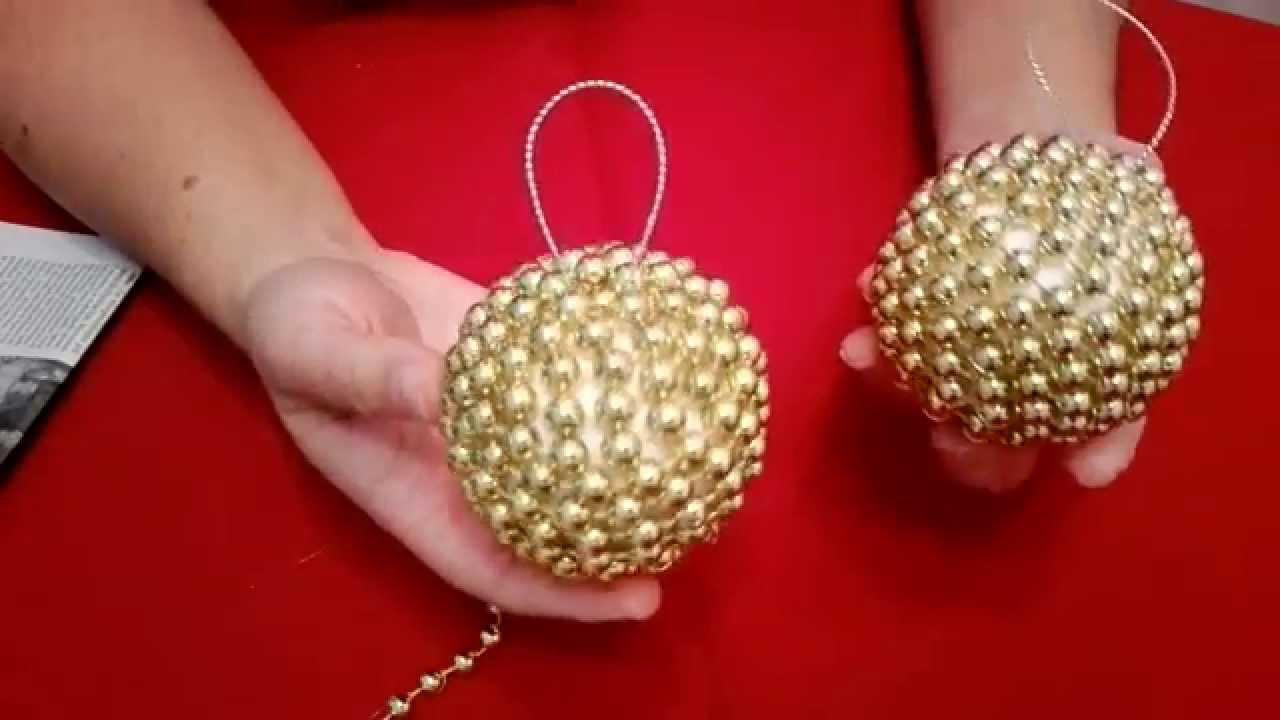Crear bola de navidad con bolitas doradas en 5 minutos - Bolas de navidad doradas ...