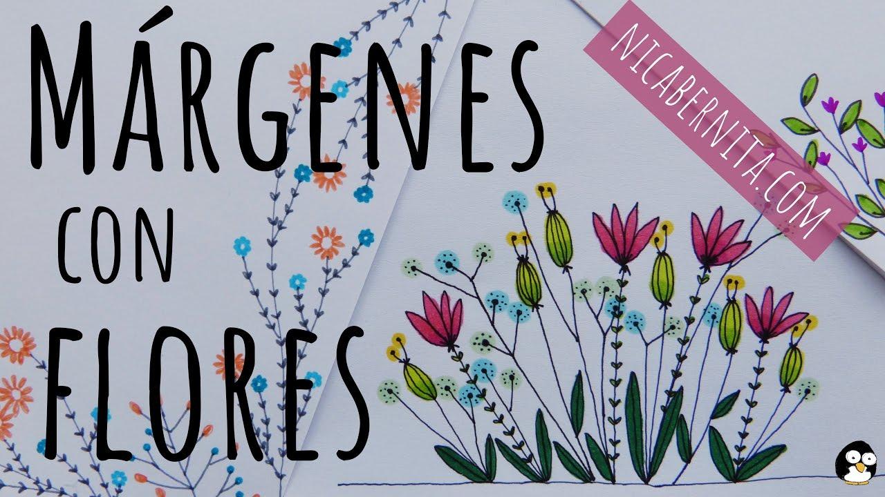 Márgenes Para Portadas De Cuadernos Y Bordes Para Cartas Con Dibujos De Flores 2