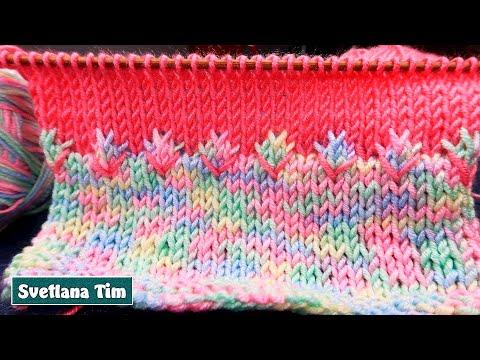 УЗОРЫ СПИЦАМИ. Как красиво оформить переход между цветами. Вязание на спицах МК / светлана тим # 743