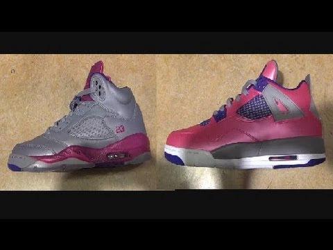 the best attitude e21ad ec28c Air Jordan Pink Foil/Electric Purple 4 + Raspberry Red/Grey 5 V GS Sneakers  (Female Edition)