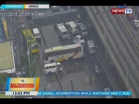 BT: Bus Na Bumangga Sa Concrete Barrier At Isang Puting Delivery Van, Nagpabigat Ng Trapiko