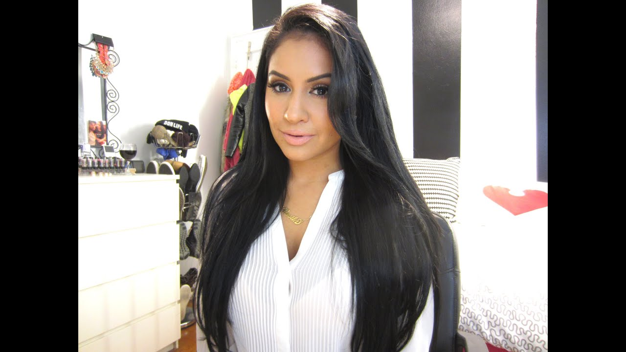 First Impression  Bellami Jet Black Hair Extensions - YouTube 6a59db92a