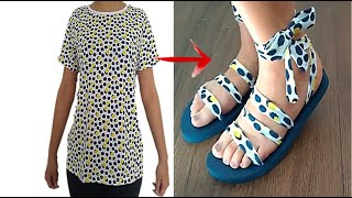 RECICLA Y TRANSFORMA TU ROPA VIEJA EN SANDALIAS - DIY CLOTHES - TRANSFORM YOUR OLD CLOTHES TO NEW