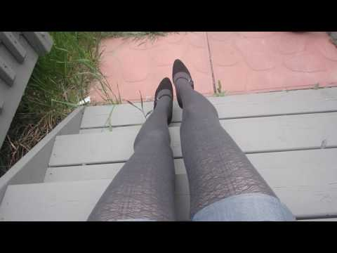 Wearing Bree tights by Fiore, 60 den, dark grey shade with high heel shoes! (Pantyhose Sale