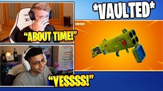 "Streamers React To ""QUAD LAUNCHER"" (FINALLY!) *VAULTED* From Fortnite 