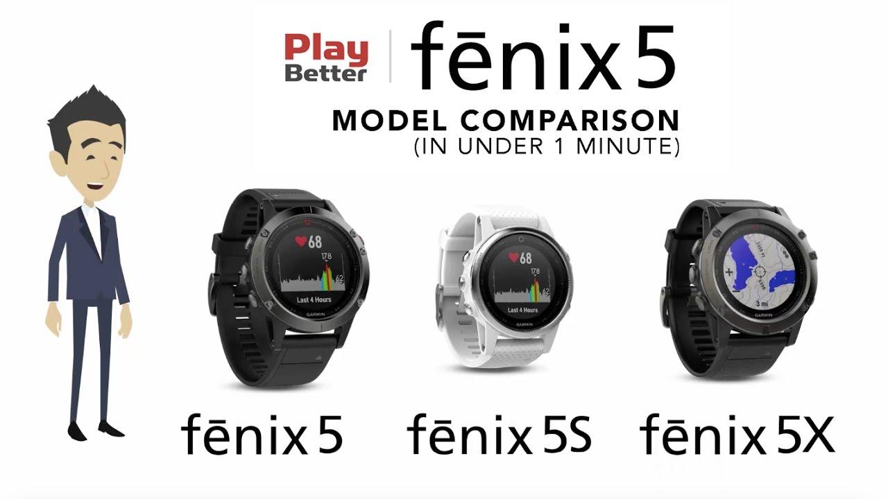 Compare fenix 5 vs  fenix 5S vs  fenix 5X