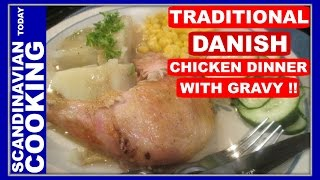 Grydestegt Kylling Med Persille - Chicken Stuffed With Parsley & Homemade Gravy