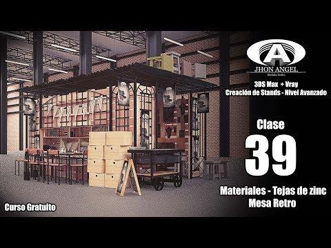 Curso 3Ds Max + Vray - Creación de Stands - Clase 39 - Materiales - Tejas de zinc - Mesa Retro
