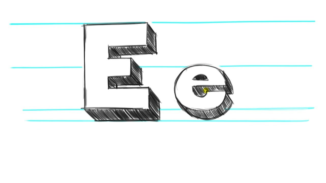 how to draw 3d letters e uppercase e and lowercase e in 90 seconds youtube