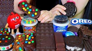 ASMR M&M'S MAGNUM ICE CREAM, OREO ICE CREAM, CHOCOLATE CAKE, M&MS DARK CHOCOLATE BAR, CADBURY EGG 먹방